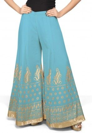 Foil Printed Georgette Palazzo in Sky Blue