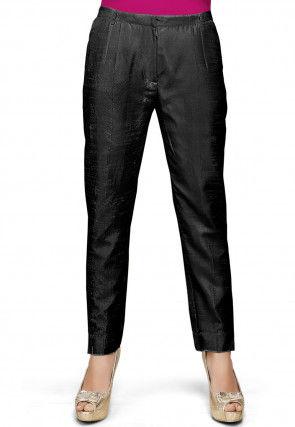 Plain Art Silk Trouser in Black