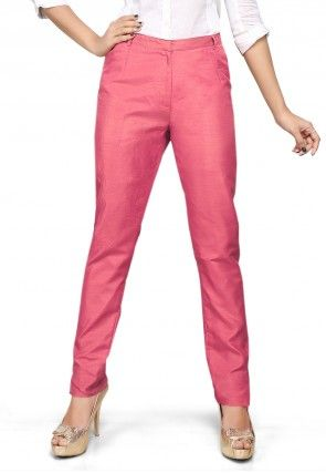Art Silk Straight Pant in Old Rose