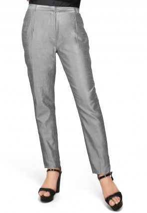 Art Silk Straight Pant in Grey