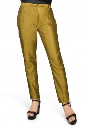 Art Silk Straight Pant in Olive Green