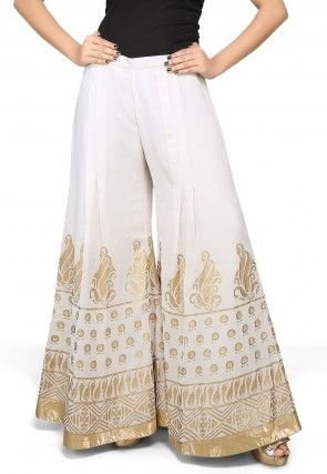 Foil Printed Georgette Palazzo in Off White