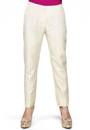 Art Dupion Silk Straight Pant in Off White