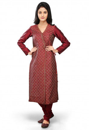 Printed Art Silk Straight Suit in Maroon