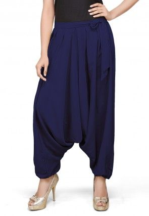 Solid Crepe Zouave Pant in Navy Blue