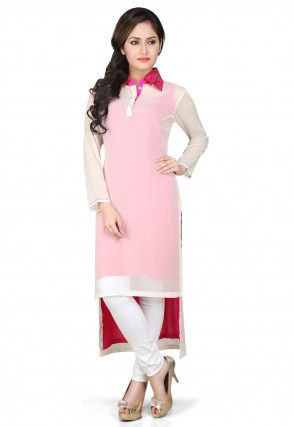 High Low Georgette Tunic in Off White and Pink