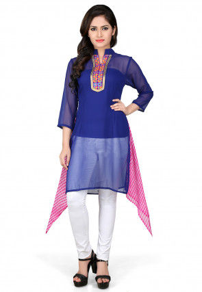 Asymmetric Georgette Tunic In Royal Blue