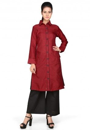 Plain Art Silk Long Kurta in Maroon