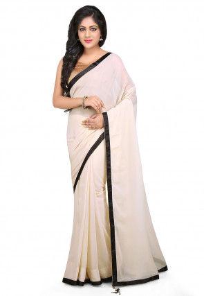 b3f6f2451c White Georgette Sarees: Buy Latest Designs Online | Utsav Fashion