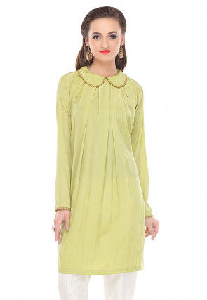Box Pleated Crepe Tunic in Light Green