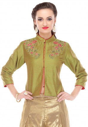 Embroidered Cotton Silk Jacket in Green