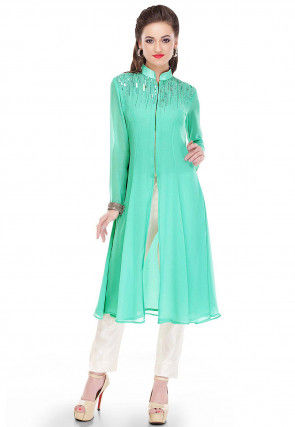 Embroidered Georgette Long Kurta in Pastel Green