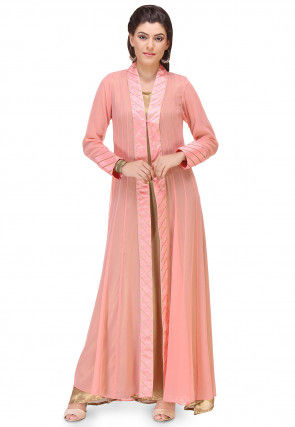 Gota Work Georgette Long Shrug in Peach