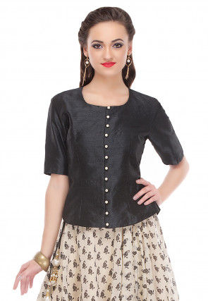 Plain Dupion Silk Top in Black
