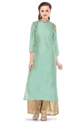 Embroidered Cotton Silk Long Kurta in Green