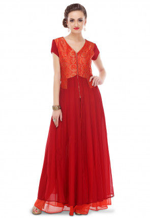 Double Layered Georgette and Brocade Long Kurta in Red