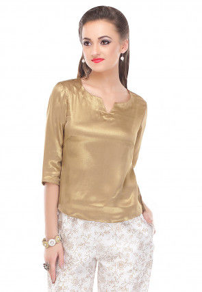 Plain Shimmer Georgette Top in Golden