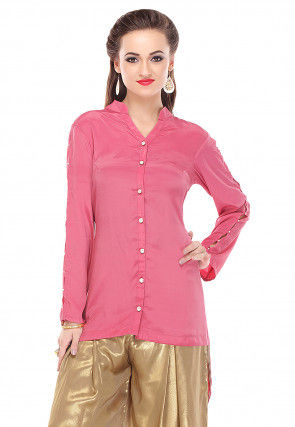 Plain Shirt Style Crepe Tunic in Pink