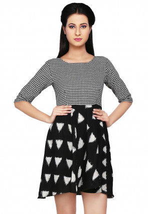 Printed Cotton Tunic in Black and White