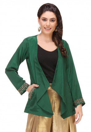 Embroidered Crepe Jacket in Green