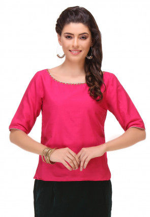 Plain Cotton Silk Top in Fuchsia