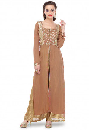 Embroidered Georgette and Jute Silk Long Kurta in Brown