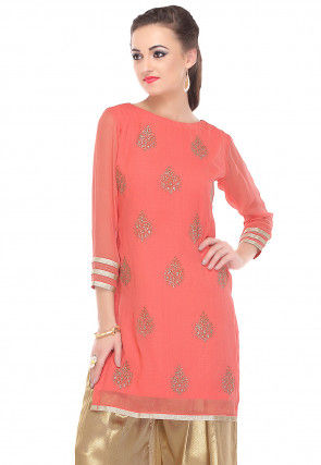 Printed Georgette Kurti in Coral