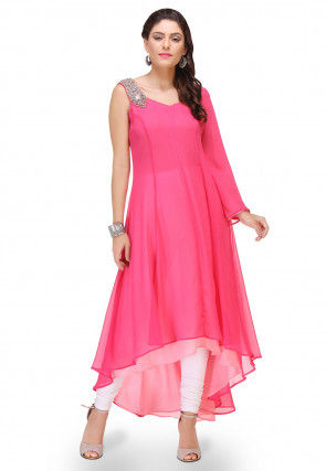 Plain Georgette Asymmetric Dress in Fuchsia