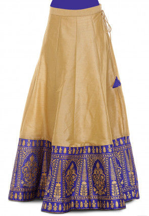 Golden Printed Dupion Silk Skirt in Beige