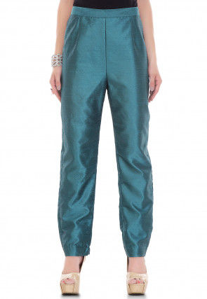 Plain Dupion Silk Pant in Teal Blue