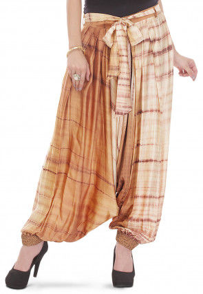 Printed Pure Silk Harem Pant in Brown and Beige