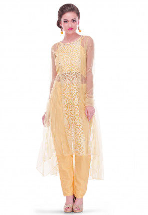 Embroidered Net Long Kurta in Light Beige