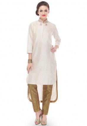 Plain Cotton Silk Long Kurta in Off White