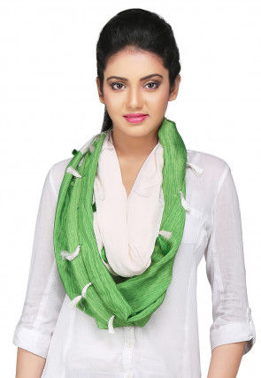 Digital Printed Crepe Stole in Off White and Green