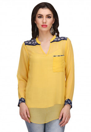 Plain Georgette Top in Yellow