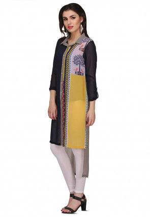 Digital Printed Georgette High Low Kurta in Multicolor