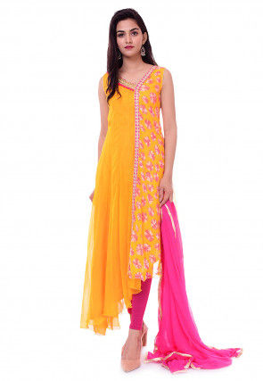 Tie Dye Georgette Asymmetric Suit in Yellow