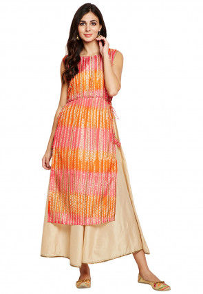 Tie Dye Printed Art Silk Layered Kurta in Multicolor and Beige