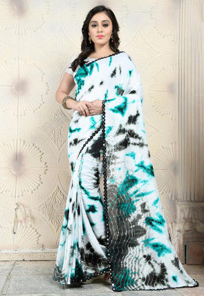 Tie Dye Printed Art Silk Saree in Off White