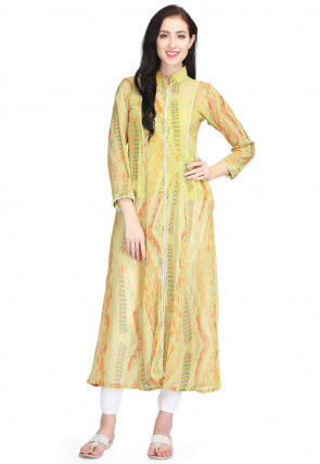 Tie Dye Printed Chiffon Front Slitted Kurta in Olive Green
