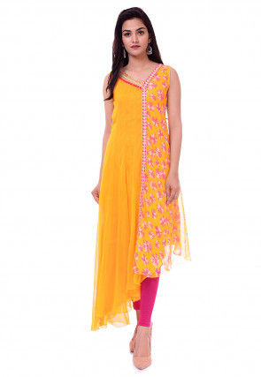 Tie Dye Printed Georgette Asymmetric Kurta Set in Mustard