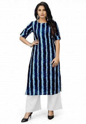 Tie Dye Printed Polyester Straight Kurta in Navy Blue