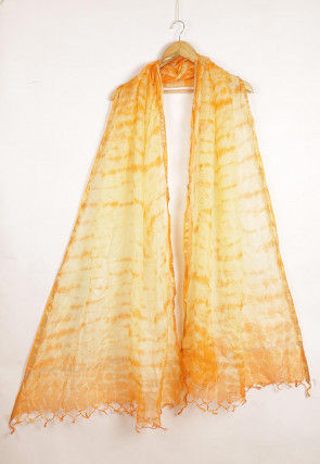 Tie Dye Pure Kota Silk Dupatta in Light Orange