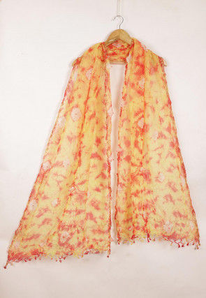 Tie Dye Pure Kota Silk Dupatta in Mustard