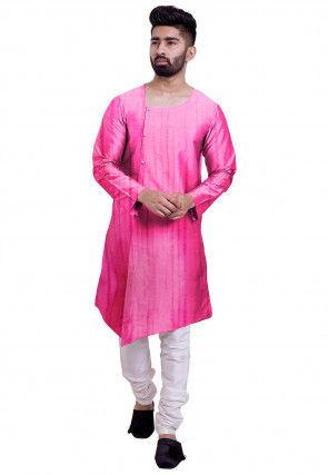 Tie Dye Pure Silk Asymmetric Kurta Set in Pink