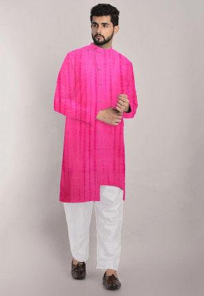 Tie Dye Pure Silk Front Open Asymmetric Kurta Set in Pink