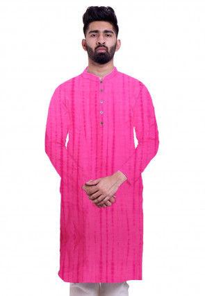 Tie Dye Pure Silk Kurta in Pink