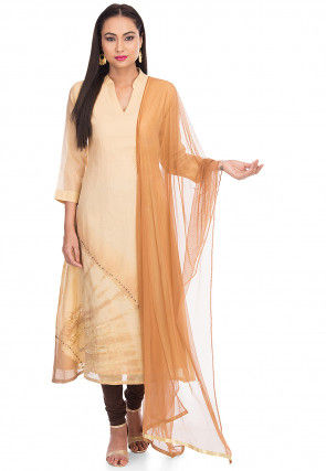 Tie Dyed Chanderi Silk A Line Suit in Light Beige