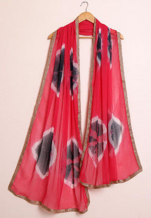 Tie Dyed Chiffon Dupatta in Coral Red