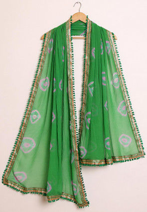 Tie Dyed Chiffon Dupatta in Green